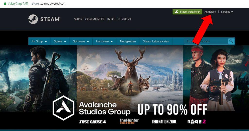 Steam Account anmelden