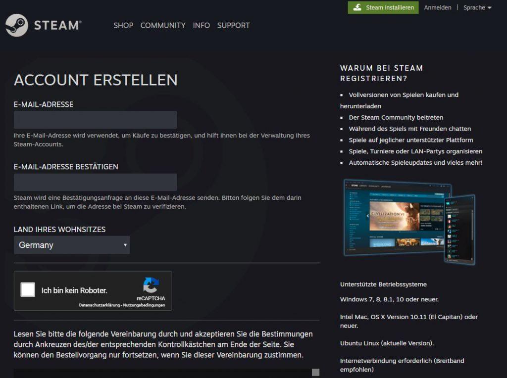 Steam Account erstellen1