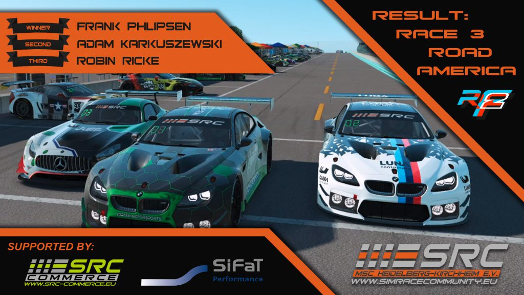 SimRacing GT3 WorldTour, Road America, Siegerfoto, Mercedes, BMW, M6